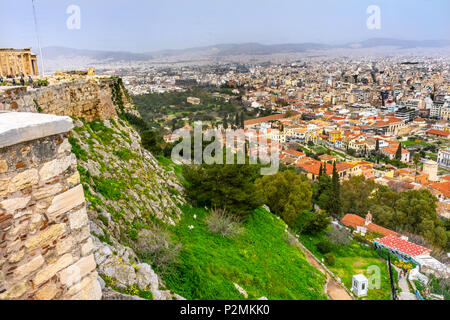 Ancient Agora Greek Marketplace From Acropolis Athens Greece. Temple of Hephaestus and Long Stoia of Attalus - Stock Photo