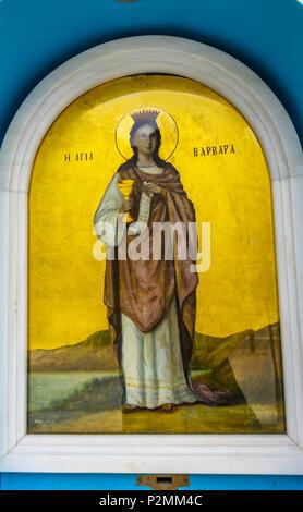 Saint Great Martyr Barbara Icon Saint Sophia of Acropolis Athens Greece. Sainit Sophia is the Greek Orthodox church at base of Acropolis. - Stock Photo