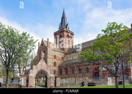 St Magnus Cathedral, Broad Street, Kirkwall, Mainland, Orkney Islands, Northern Isles, Scotland, United Kingdom - Stock Photo