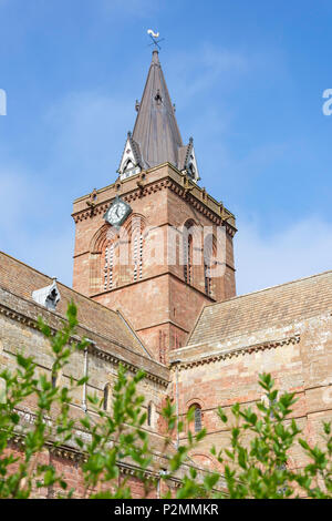 Clock Tower of St Magnus Cathedral, Broad Street, Kirkwall, Mainland, Orkney Islands, Northern Isles, Scotland, United Kingdom - Stock Photo