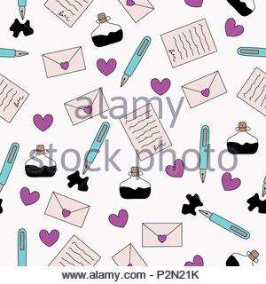 Letter and ink seamless pattern - Stock Photo