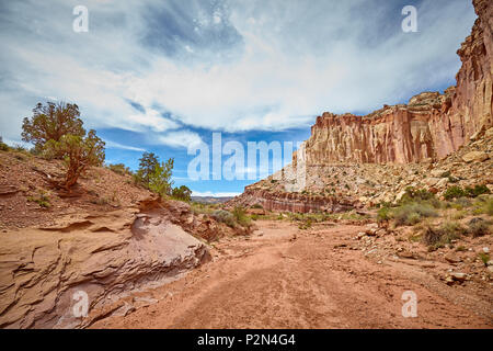Dried up river bed in the Capitol Reef National Park, Utah, USA. - Stock Photo