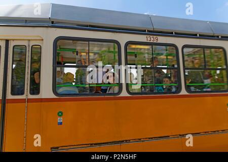 Budapest, Hungary, area classified as World Heritage, tramway - Stock Photo
