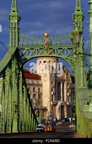 Budapest, Hungary, area classified as World Heritage, the Liberty Bridge (Szabadság híd), Gellert Baths in background - Stock Photo
