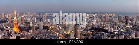 Tokyo Skyline seen from Roppongi Hills with Tokyo Tower and Bay during blue hour, Minato-ku, Tokyo, Japan - Stock Photo
