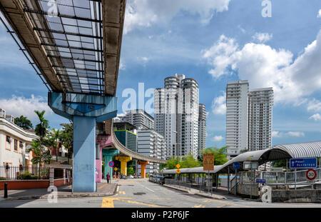 A monorail heading into Kuala Lumpur city centre. Kuala Lumpur, Malaysia - Stock Photo