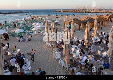Israel, Tel Aviv, seaside, beach and marina at sunset - Stock Photo