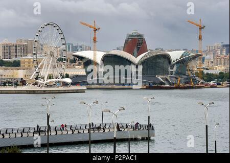 Azerbaijan, Baku, Caspian Waterfront Mall along the Caspian Sea seen from Bayraq Meydani - Stock Photo