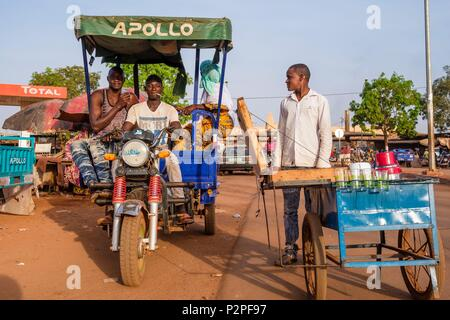 Burkina Faso, Hauts-Bassins region, Bobo-Dioulasso, motobike-taxi - Stock Photo
