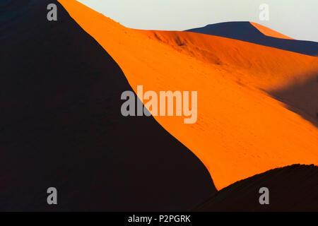 Red sand dune 45 in southern Namib Desert, Sossusvlei, Namib-Naukluft National Park, Hardap Region, Namibia - Stock Photo