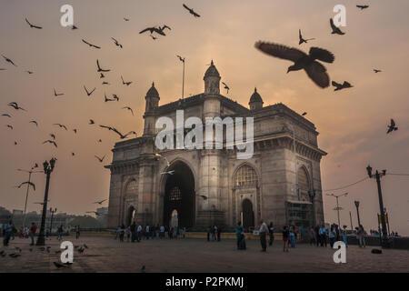 MUMBAI, INDIA - JANUARY 14, 2017 -  Unidentified people walk and pigeons fly around the Gateway of India