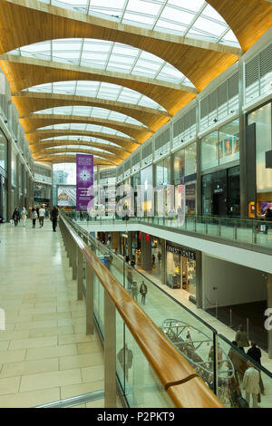 Inside the new Highcross Shopping Centre in Leicester City Centre, England, UK - Stock Photo