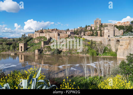 Toledo, Spain. The historic old town and River Tagus from near the Puente San Martin, Toledo, Castilla-La Mancha, Spain - Stock Photo