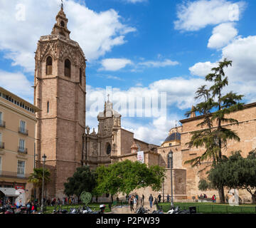 Valencia Cathedral, Spain. Miguelete Tower and Metropolitan Cathedral Basilica of the Assumption of Our Lady,  Plaza de la Reina, Valencia, Spain - Stock Photo
