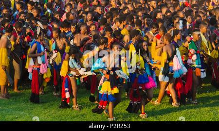 Swazi girls parade at Umhlanga (Reed Dance Festival), Swaziland - Stock Photo
