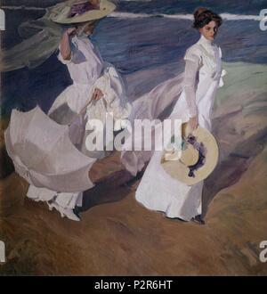 'Walk on the Beach', 1909, Oil on canvas, 205 x 200 cm. Author: Joaquin Sorolla (1863-1923). Location: MUSEO SOROLLA, MADRID, SPAIN. Also known as: PASEO A LA ORILLA DEL MAR. - Stock Photo