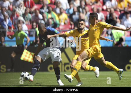 Kazan, Russia. 16th June, 2018. Kylian Mbappe of France (L) shoots during a group C match between France and Australia at the 2018 FIFA World Cup in Kazan, Russia, June 16, 2018. Credit: Wu Zhuang/Xinhua/Alamy Live News - Stock Photo