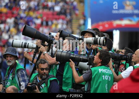 Kazan, Russia. 16th June, 2018. KAZAN, RUSSIA - JUNE 16, 2018: Photojournalists in a 2018 FIFA World Cup Group C match between France and Australia at Kazan Arena Stadium. Sergei Bobylev/TASS Credit: ITAR-TASS News Agency/Alamy Live News - Stock Photo