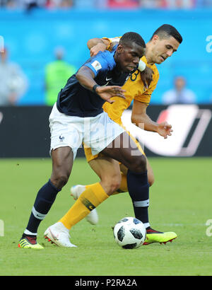 Kazan, Russia. 16th June, 2018. Paul Pogba (L) of France competes during a group C match between France and Australia at the 2018 FIFA World Cup in Kazan, Russia, June 16, 2018. Credit: Yang Lei/Xinhua/Alamy Live News - Stock Photo
