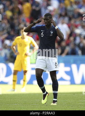 Kazan, Russia. 16th June, 2018. Paul Pogba of France celebrates his goal during a group C match between France and Australia at the 2018 FIFA World Cup in Kazan, Russia, June 16, 2018. Credit: Wu Zhuang/Xinhua/Alamy Live News - Stock Photo