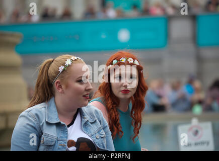 London,UK,16th June 2018, West End Live takes place in Trafalgar Square London. Casts from Famous London Shows wowed audiences with their musical performances.Credit Keith Larby/Alamy Live News - Stock Photo
