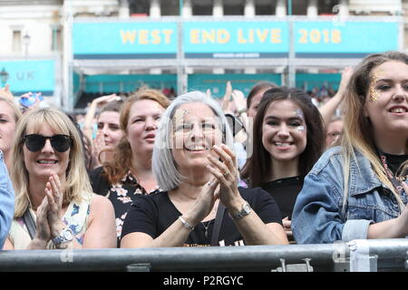 Trafalgar Square, London, UK. 16th Jun, 2018. West End Live 2018 returned to Trafalgar Square this weekend for the annual celebration of London's best musicals. Here the crowd enjoy the performances. Credit: Monica Wells/Alamy Live News - Stock Photo