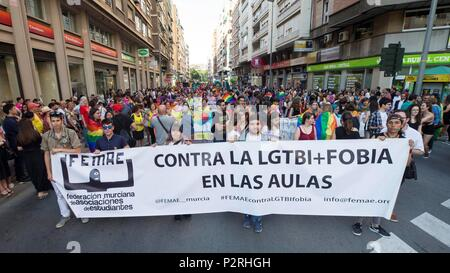 Thousands participate in an LGTBI pride march, called by 50 associations, in Valencia, Spain, 16 June 2018. EFE/Manuel Bruque - Stock Photo