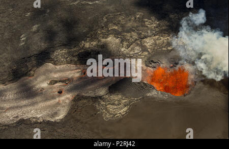 Pahoa, Hawaii, USA. 6th June, 2018. Fissure 8 continues to blast fresh lava several hundred feet in the air and flow towards Kapoho as the Kilauea Volcano lower east rift zone eruption continues on Wednesday, June 6, 2018, in Pahoa, Hawaii. Photo by L.E. Baskow/LeftEyeImages Credit: L.E. Baskow/ZUMA Wire/Alamy Live News - Stock Photo