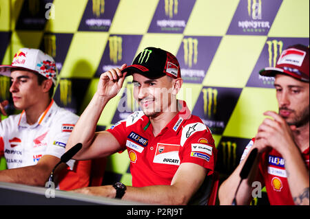 Circuit de Barcelona-Catalunya, Barcelona, Spain. 16th June, 2018. Gran Premi Monster Energy de Catalunya, MotoGP of Catalonia, qualification; Jorge Lorenzo of the Ducati Motogp Team smiles after taking the pole position Credit: Action Plus Sports/Alamy Live News - Stock Photo