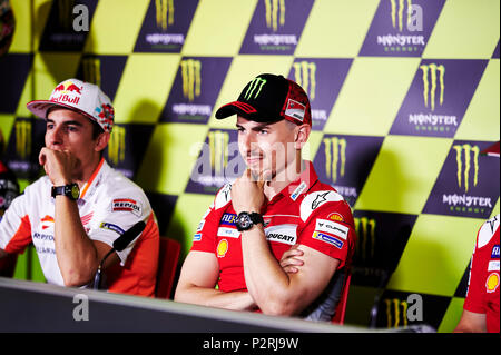 Circuit de Barcelona-Catalunya, Barcelona, Spain. 16th June, 2018. Gran Premi Monster Energy de Catalunya, MotoGP of Catalonia, qualification; Jorge Lorenzo of the Ducati Motogp Team gestures after taking the pole position Credit: Action Plus Sports/Alamy Live News - Stock Photo