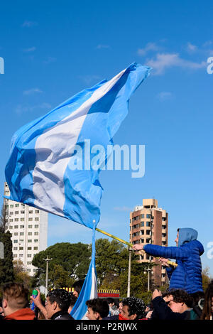 Buenos Aires, Argentina. 16th June, 2018. Flags waved at Plaza Moreno in Buenos Aires.Thousands of football fans took to the main square in Buenos Aires to see the Argentine national football team play in the first group match vs Iceland. Credit: Fernando Oduber/SOPA Images/ZUMA Wire/Alamy Live News - Stock Photo