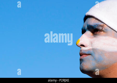 Buenos Aires, Argentina. 16th June, 2018. Argentine fan seen with all his face painted.Thousands of football fans took to the main square in Buenos Aires to see the Argentine national football team play in the first group match vs Iceland. Credit: Fernando Oduber/SOPA Images/ZUMA Wire/Alamy Live News - Stock Photo