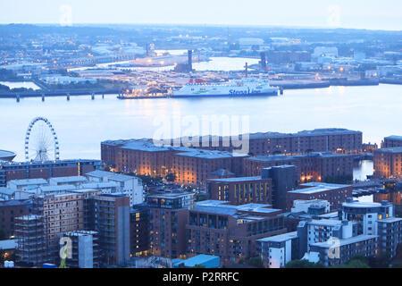 The Albert Docks at dusk, on Liverpool's Waterfront, on Merseyside, UK - Stock Photo