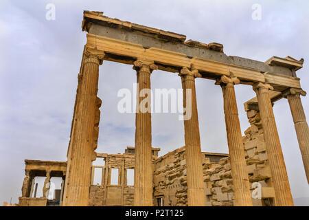 Temple of Erechtheion Porch Caryatids Ruins Acropolis Athens Greece.  Greek maidens columns Temple of Erechtheion for a former Athenian king.  Acropol - Stock Photo