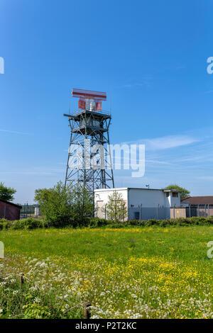 Radar tower at Warton Aerodrome near Preston, Lancashire, UK - Stock Photo
