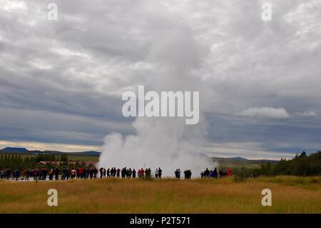 Erupting Geysir, Iceland - Stock Photo