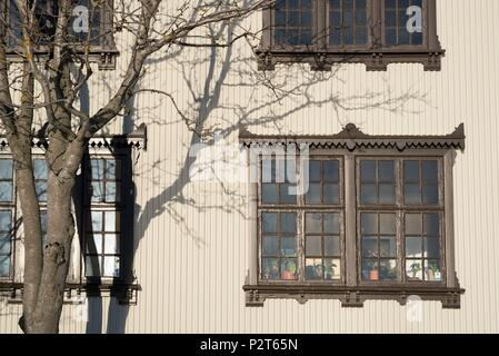 Iceland, Capital Region, Reykjavik, traditional painted sheet metal facade and wooden windows - Stock Photo