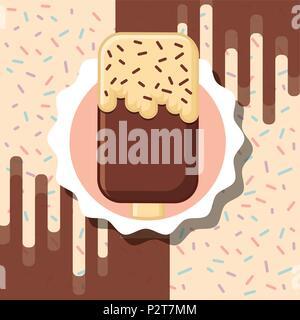 chocolate chips ice cream label design vector illustration - Stock Photo