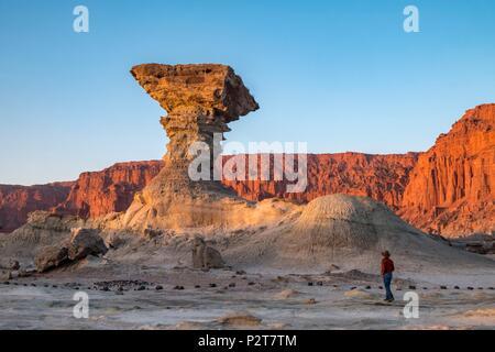 Argentina, San Juan Province, near San Augustin de Valle Fertil, Valle de la Luna, Moon Valley, Parque Ischigualasto listed as World Heritage by UNESCO, Pillar Rock, Hongo - Stock Photo