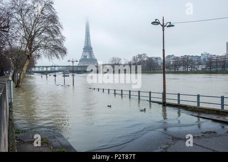 France, Paris, area listed as World Heritage by UNESCO, the flood of the Seine river, right bank flooded right, the Bir Hakeim bridge and the Eiffel Tower - Stock Photo