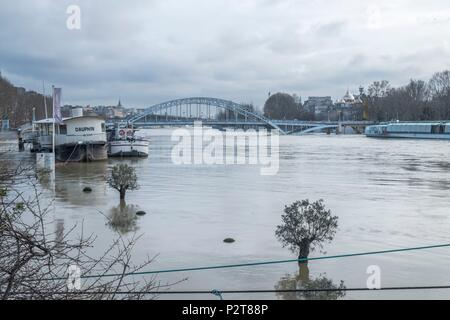 France, Paris, area listed as World Heritage by UNESCO, the flood of the Seine river - Stock Photo