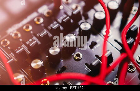 Professional electronic synthesizer board for music composer.Modern studio synth panel for composing new musical tracks in high quality.Many audio cab - Stock Photo