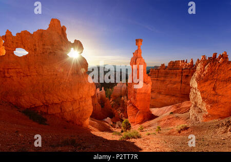 Thor's hammer in Bryce Canyon National Park in Utah USA at sunrise. - Stock Photo