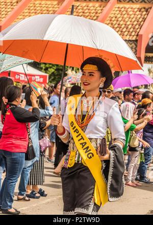 Beauty queens entering KDCA building at 2018 Pesta Kaamatan in Kota Kinabalu Sabah Malaysia on Island of Borneo - Stock Photo