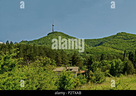 Landscape on the part of Vitosha mountain with television tower on a hill, close to Sofia, Bulgaria, Europe - Stock Photo