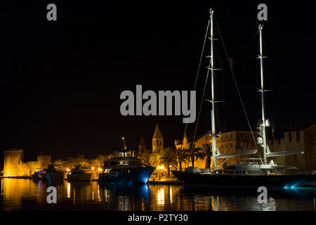 Trogir, Croatia - 2017-07-19, Beautiful old city at night. Nice stone buidlings and architecture.