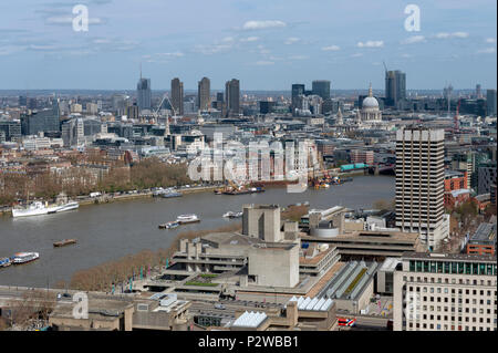 Aerial view of cityscape and skyline of London with the Thames, a major river that flows through southern England, most notably through London, UK - Stock Photo