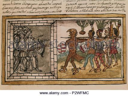 Spanish School. Manuscript, folio 213 V. Spanish and Indians Fighting in Tlaxcala. Conquest of Mexico. 16th century. Madrid, National Library. Author: Diego Durán (1537-1588). Location: BIBLIOTECA NACIONAL-COLECCION, MADRID, SPAIN. - Stock Photo
