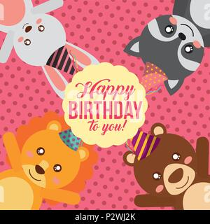 cute animal happy birthday - Stock Photo