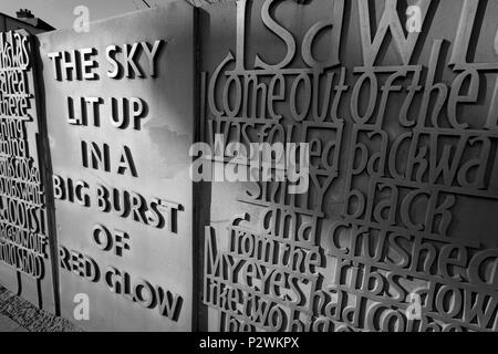 Carved stones of black country quotations in Bilston West midlands - Stock Photo